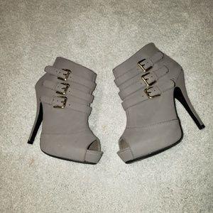 Dollhouse gray open toe bootie